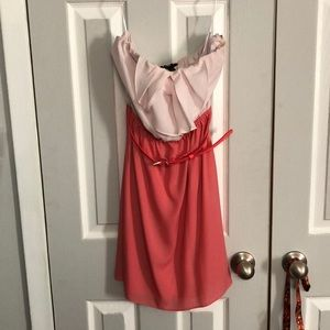 Express pink/coral mini strapless dress